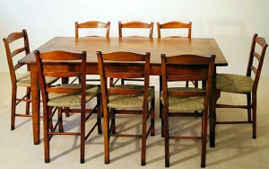 Reproduction French antique style cherry dining table and chairs