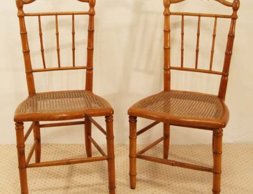French Antique Cherry Faux Bamboo Chair