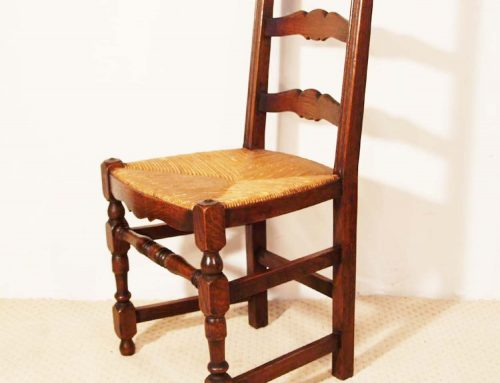 French Antique Oak Turned Leg Ladder Back Chairs