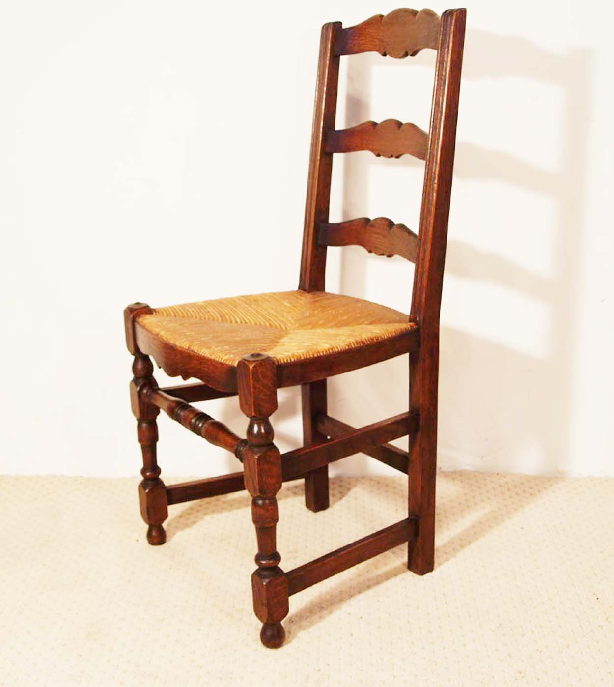 - French Antique Oak Turned Leg Ladder Back Chairs
