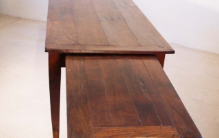 French Antique Cherry Farmhouse Table C 1810, bread slide