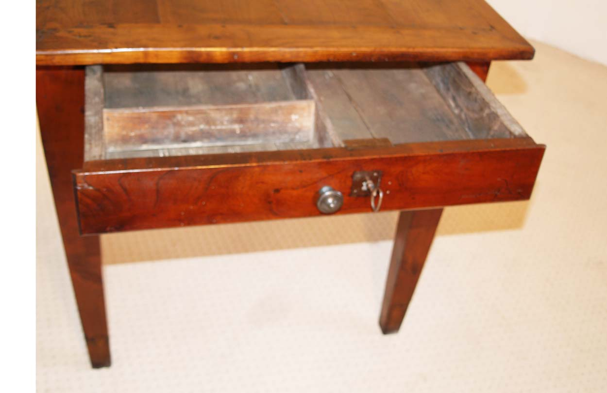 French Antique Cherry Farmhouse Table C 1810, end drawer with old lock and key