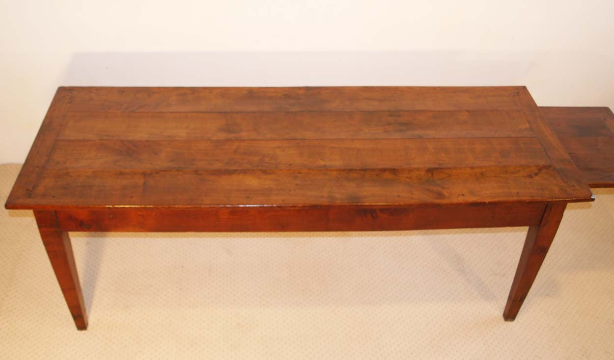 French Antique Cherry Farmhouse Table C 1810, mitred cherry top