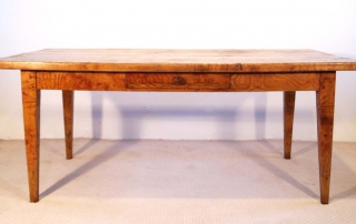 French Antique Ash Farmhouse Table with Side Drawer