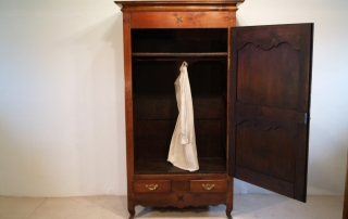 French Antique Cherry Bonnetiere, Armoire, interior with hanging rail
