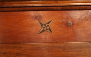 French Antique Cherry Bonnetiere, Armoire, top inlay