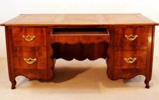 French Antique Cherry Desk, Bureau, front elevation