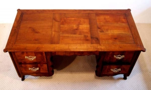 French Antique Cherry Desk, Bureau. 3 panel top