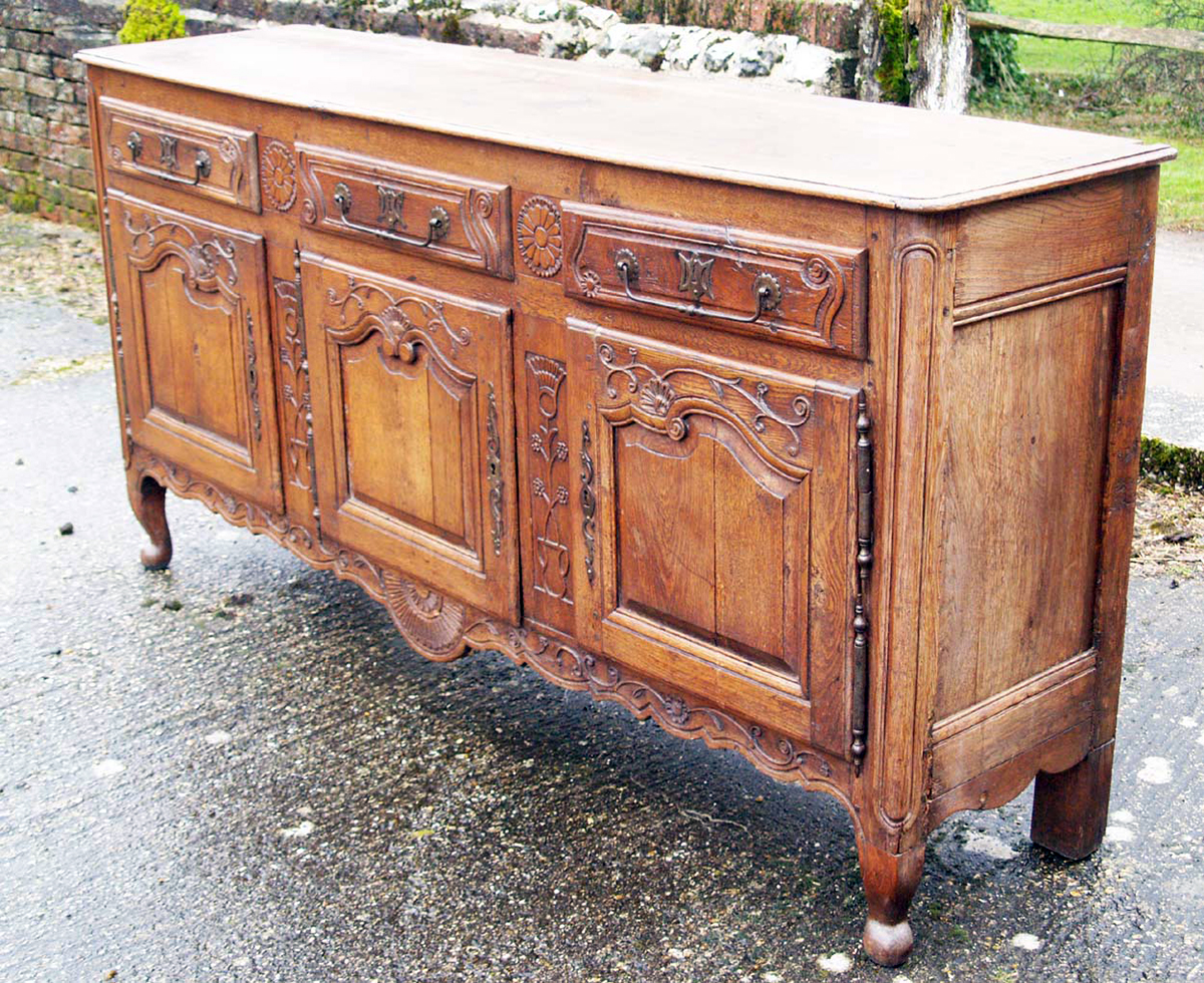 french antique vintage oak enfilade 3 door buffet. Black Bedroom Furniture Sets. Home Design Ideas