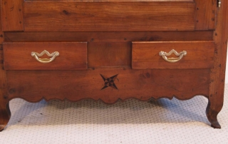 French Antique Cherry Bonnetiere, Armoire, drawers and bottom inlay