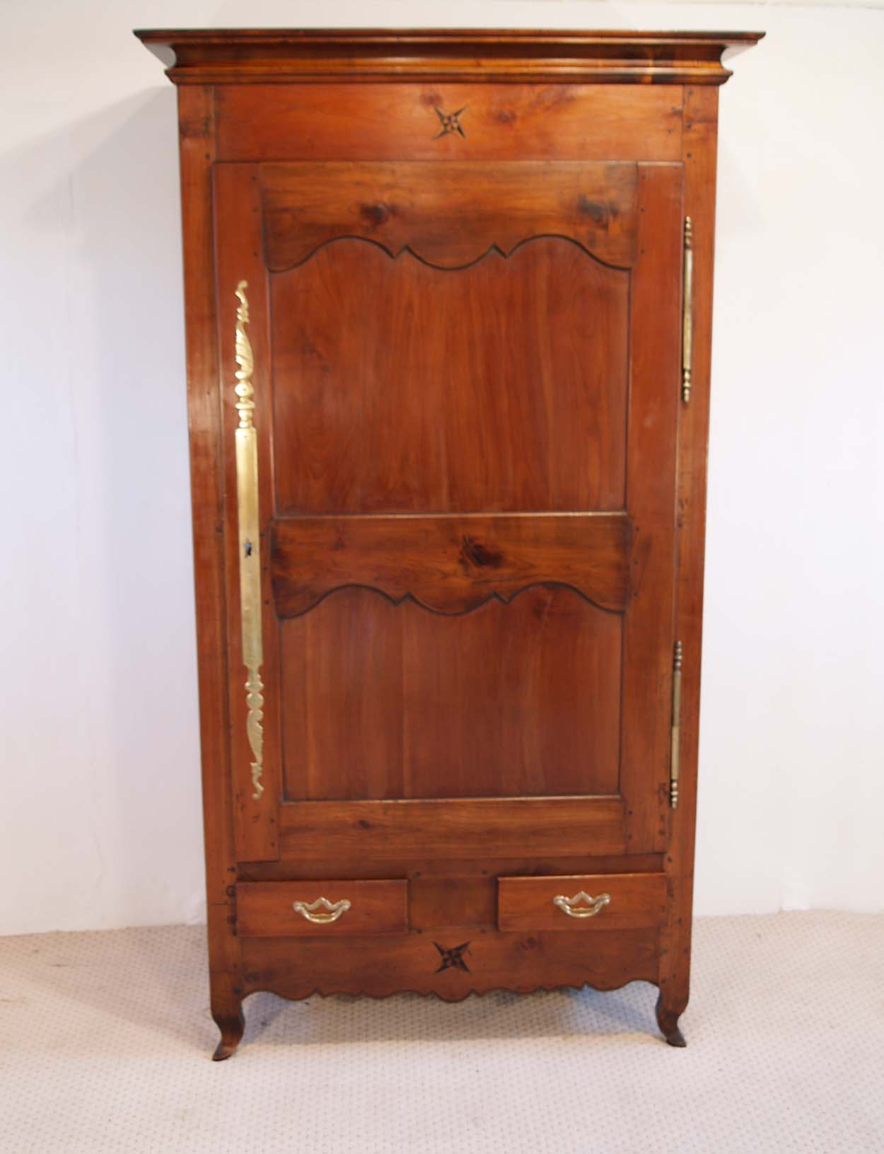 French antique cherry bonnetierearmoire front