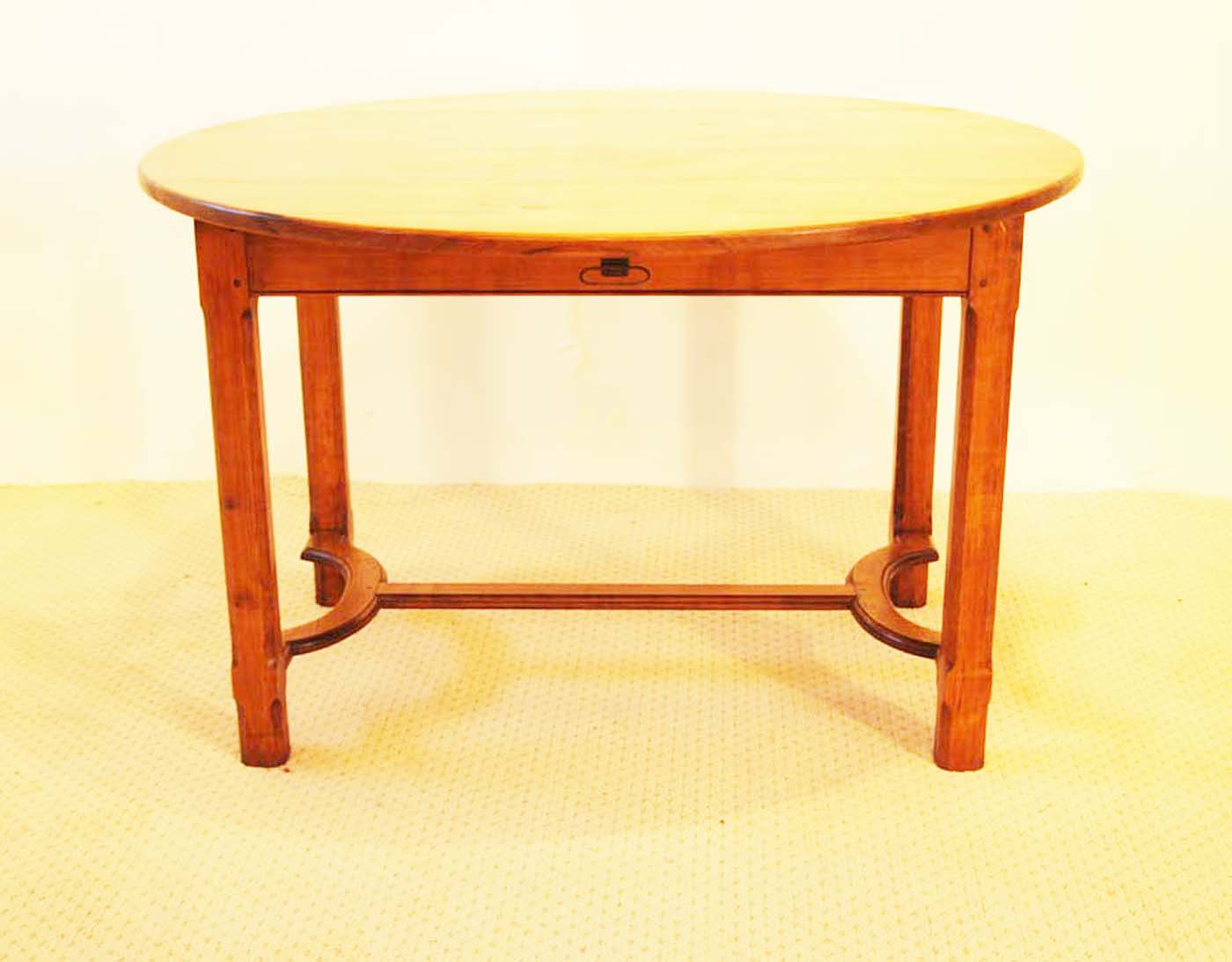 French Antique Style Round Table with Crinoline Stretcher