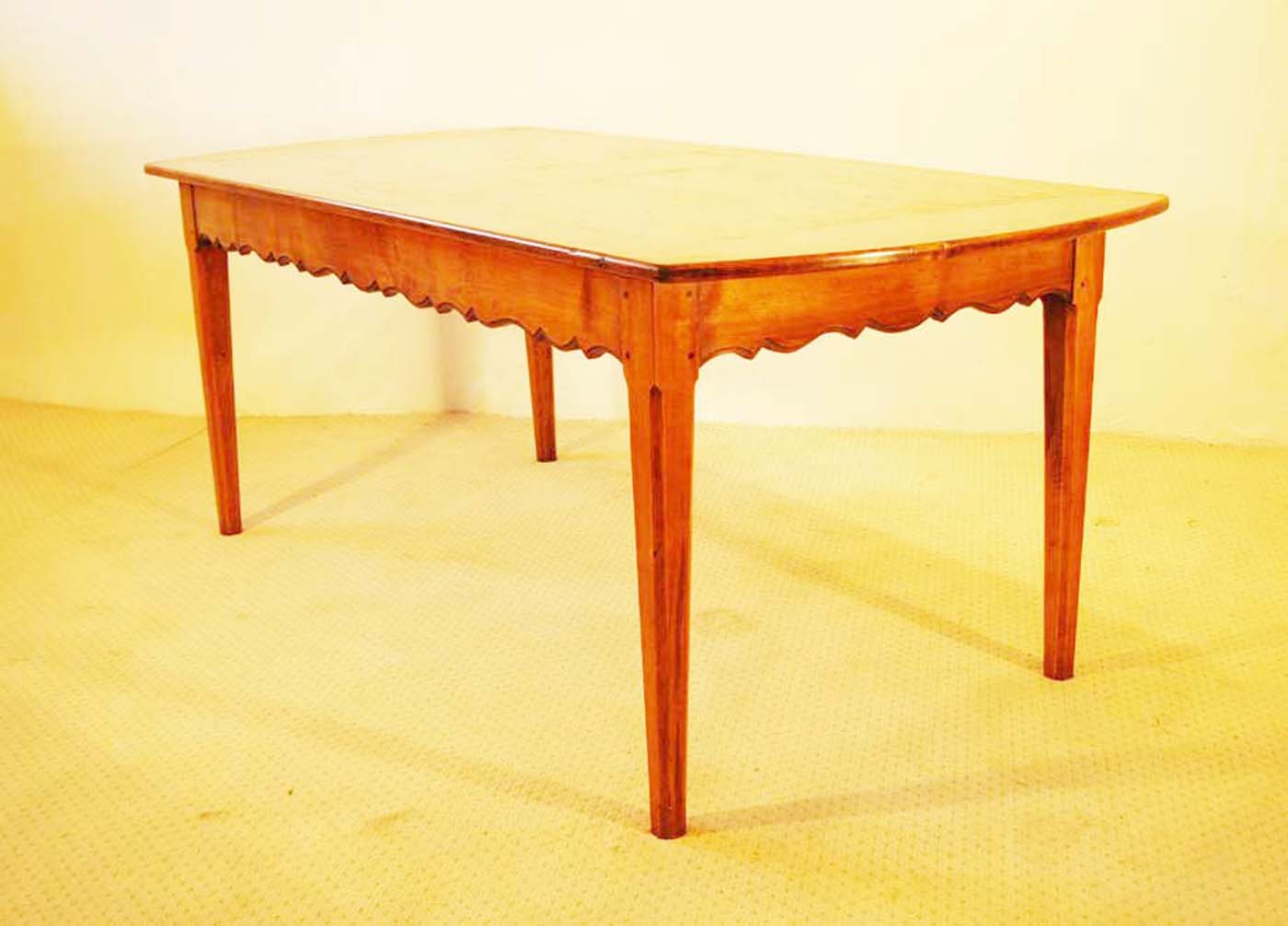French Antique Style Table with Tapered Chamfered Legs