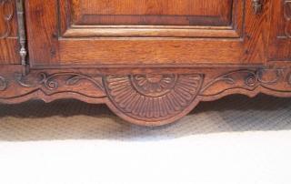French Antique Vintage Oak Enfilade, 3 Door Buffet, base carving