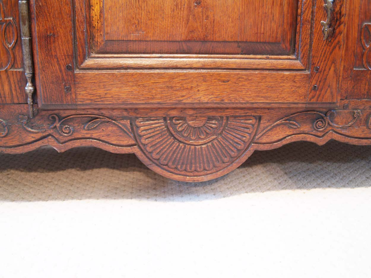 French Antique Vintage Oak Enfilade, 3 Door Buffet, base carving