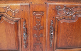 French Antique Vintage Oak Enfilade, 3 Door Buffet, centre and door carving