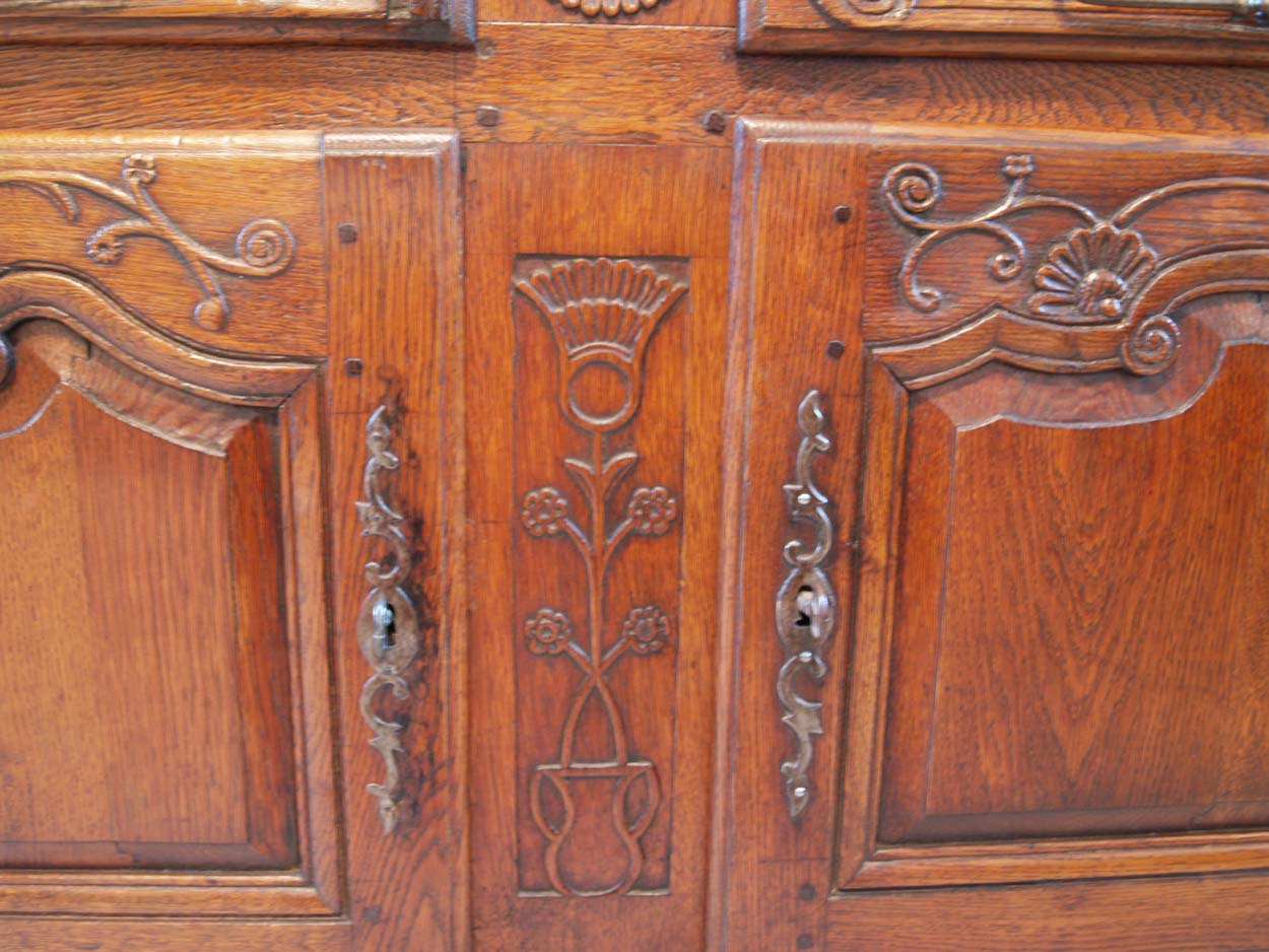 French Antique Vintage Oak Enfilade, 3 Door Buffet, centre and door carving