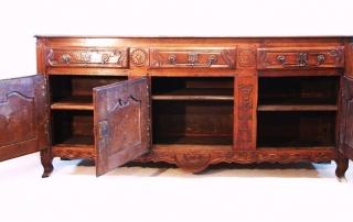 French Antique Vintage Oak Enfilade, 3 Door Buffet, interior