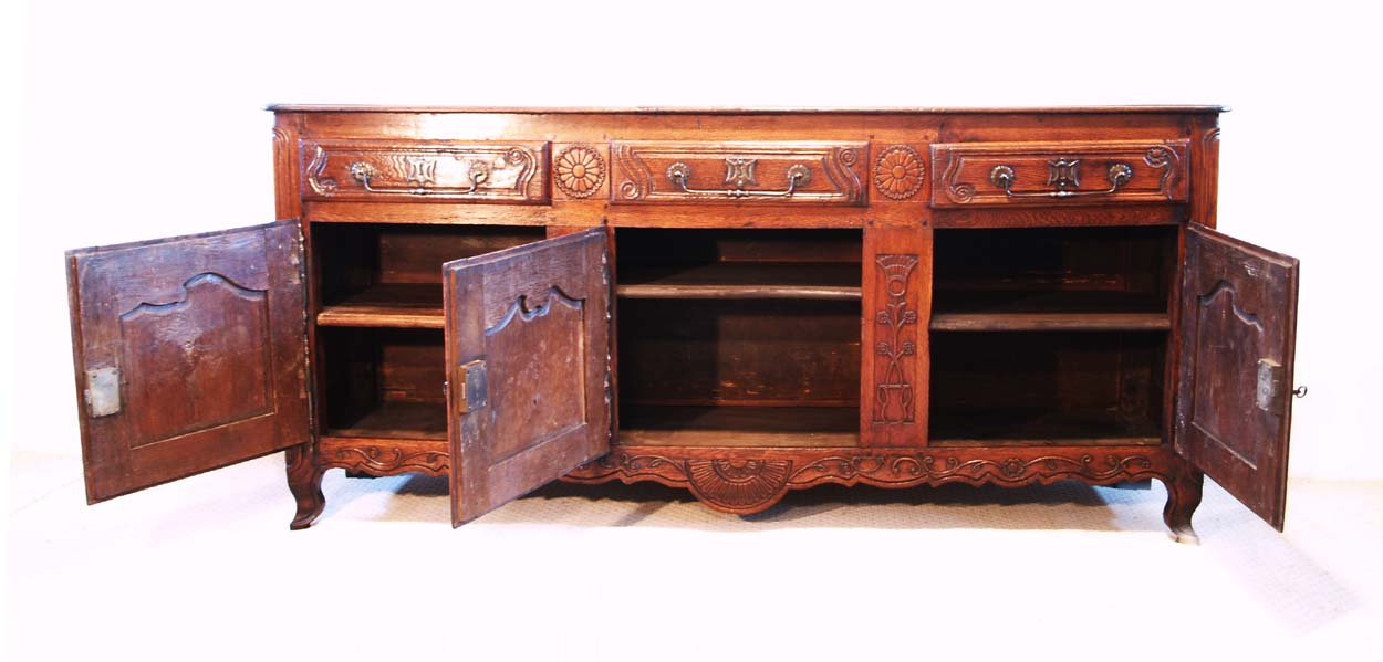 French Antique Vintage Oak Enfilade, 3 Door Buffet, interior