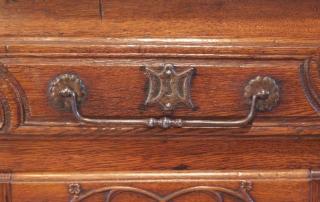 French Antique Vintage Oak Enfilade, 3 Door Buffet, original steel handles