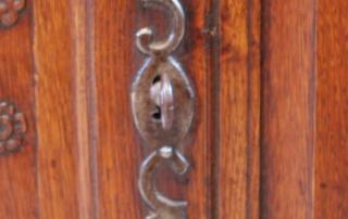 French Antique Vintage Oak Enfilade, 3 Door Buffet, original escuthcheon plate