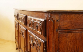 French Antique Vintage Oak Enfilade, 3 Door Buffet, slight bow to top