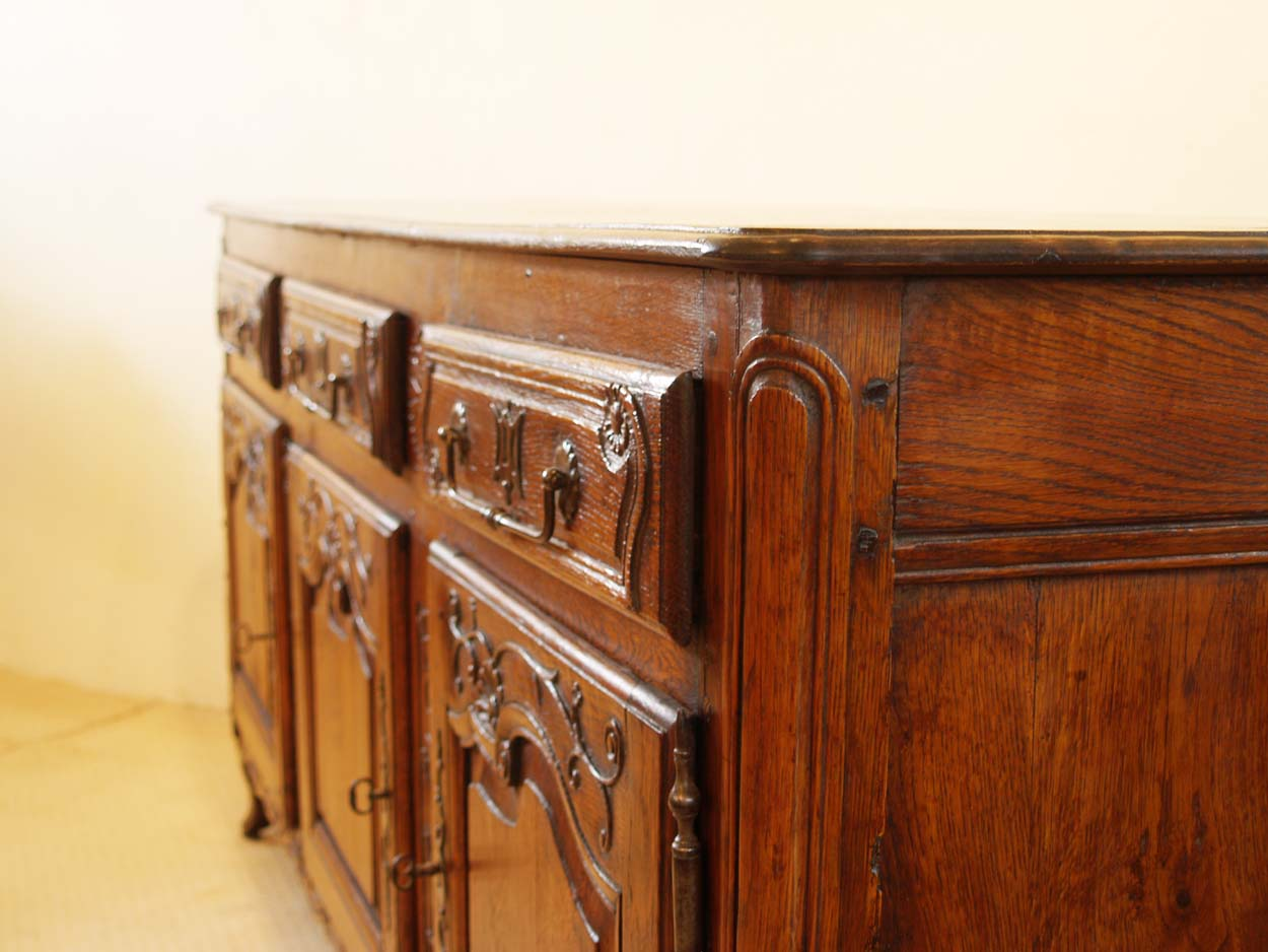 french antique vintage enfilade 3 door buffet slight bow to top wild wood antiques. Black Bedroom Furniture Sets. Home Design Ideas