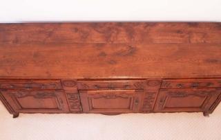French Antique Vintage Oak Enfilade, 3 Door Buffet, top
