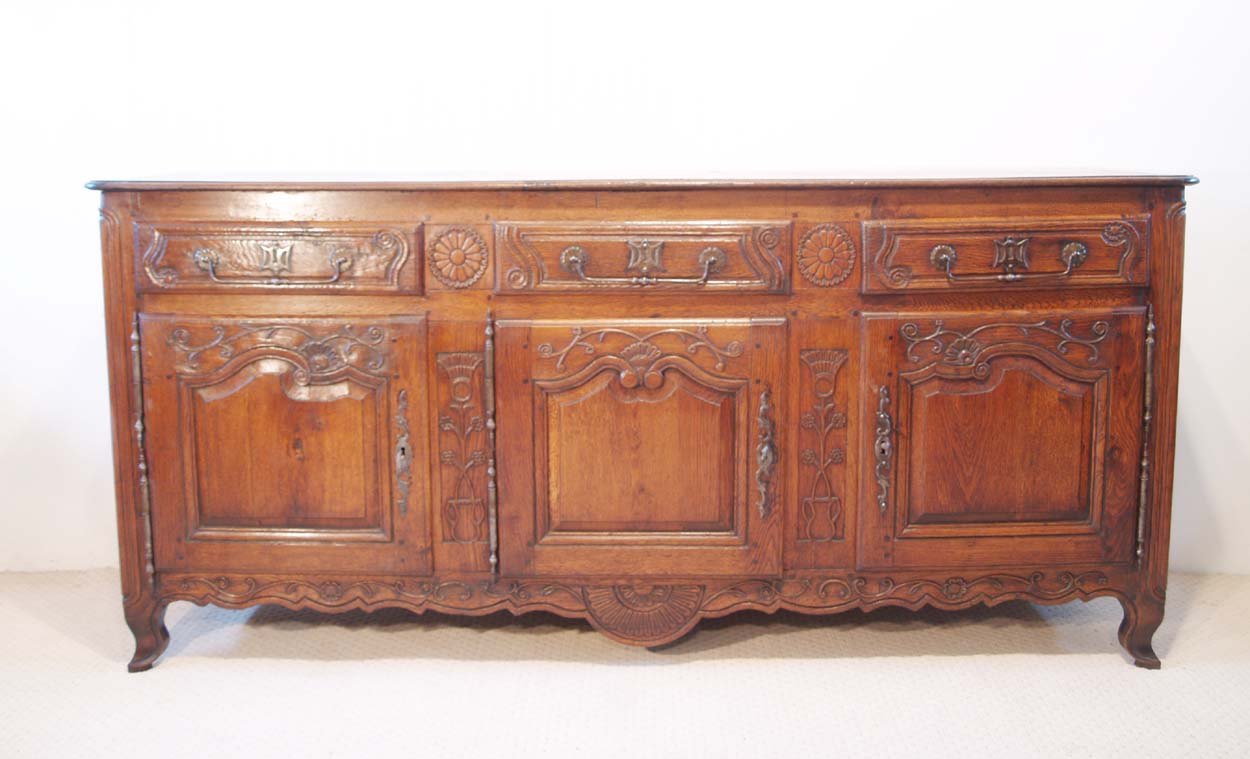 French Antique Vintage Oak Enfilade,3 Door Buffet