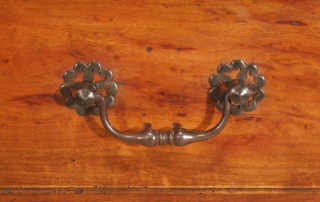 French Antique Cherry and Oak 3 Drawer Server, cast iron handle