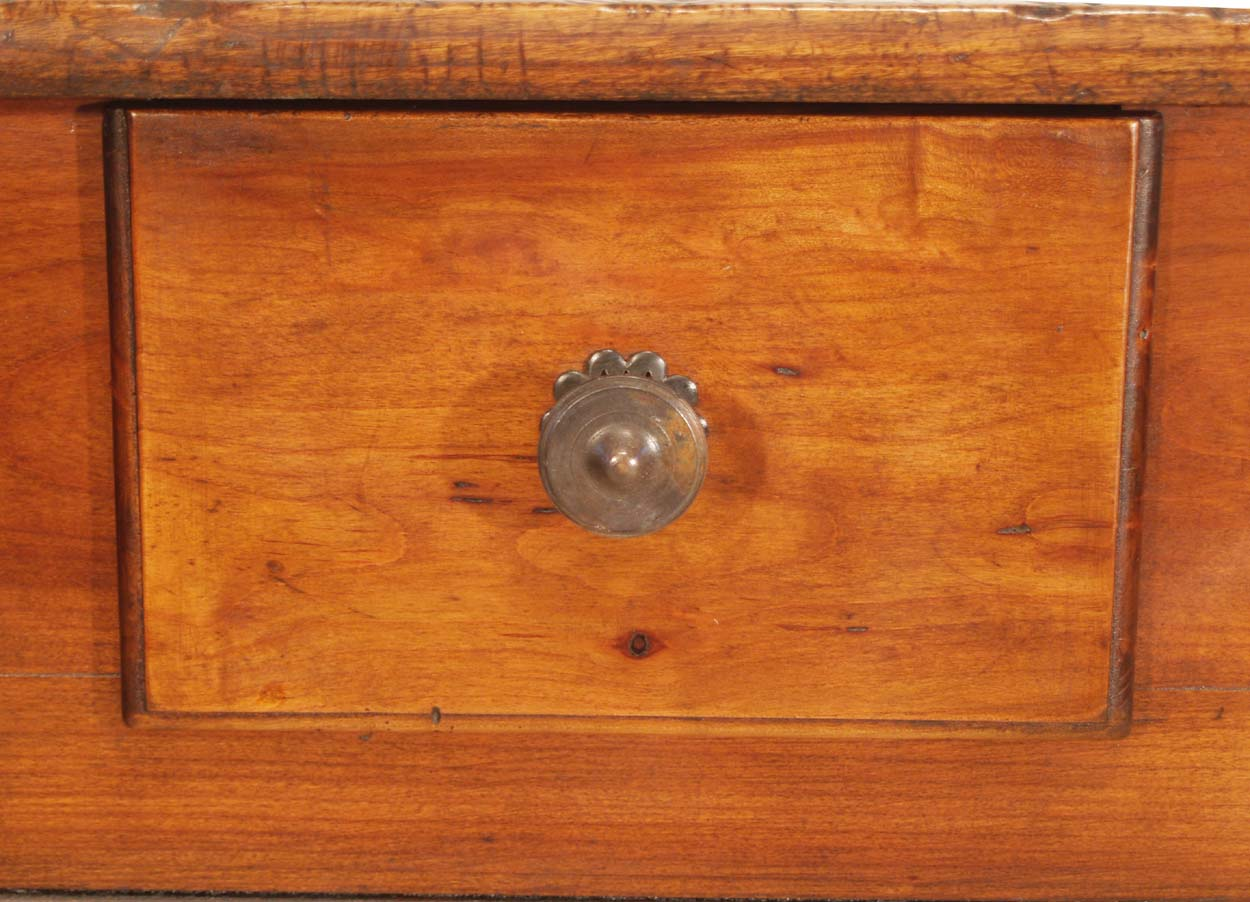 French Antique Cherry and Oak 3 Drawer Server, cast iron knob