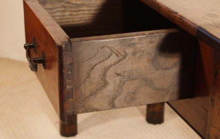 French Antique Cherry and Oak 3 Drawer Server, dovetail drawer