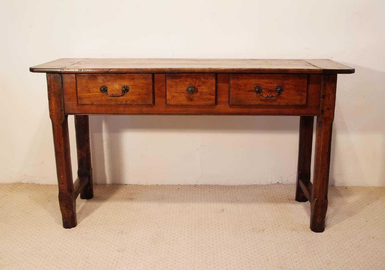 French Antique Cherry and Oak 3 Drawer Server, frot elevation
