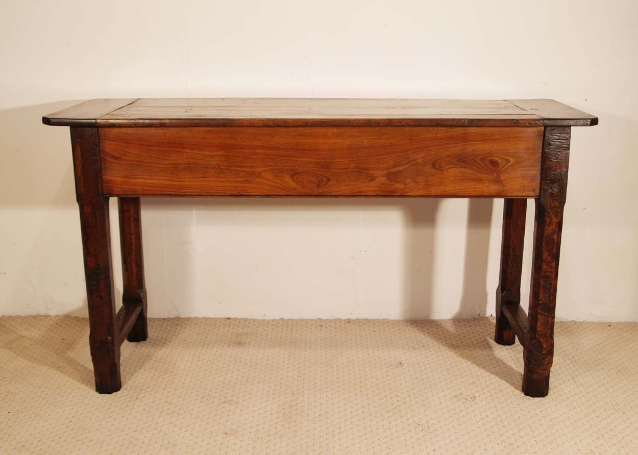 French Antique Cherry and Oak 3 Drawer Server, back elevation