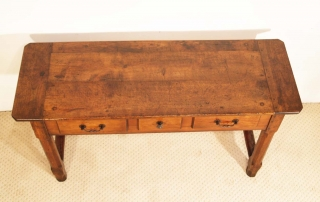 French Antique Cherry and Oak 3 Drawer Server, top