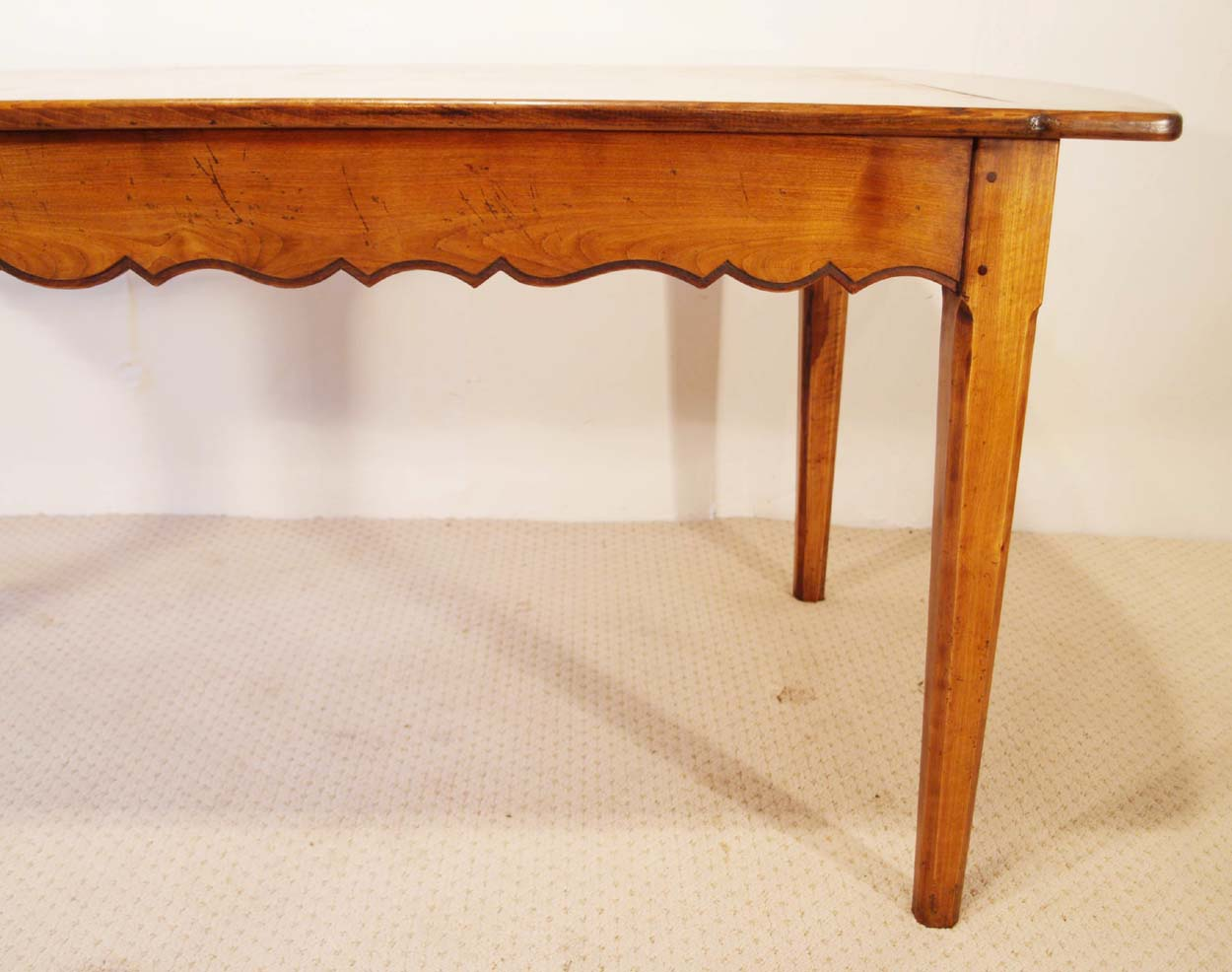 French Antique style Cherry Provence Dining table, scalloped frame