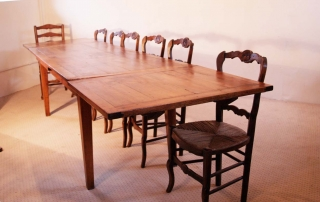 French Antique Cherry Double Extending Table C 1820, fully extended