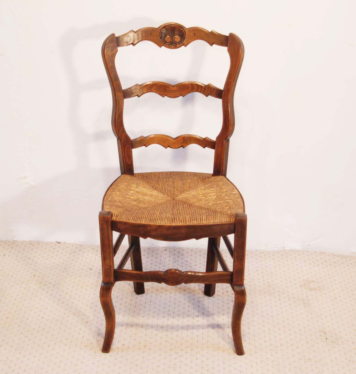 French Antique Beech Chairs with Coquille Carved Backs set of 6, front elevation