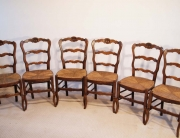 French antique beech chairs with coquille carving set of 6