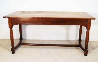 French Antique Cherry Farmhouse Table with Crinoline Stretchers C 1790, side elevation
