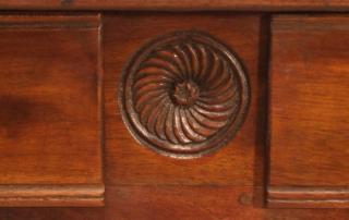 French Antique Walnut 2 Drawer Server , Desk, centre motif