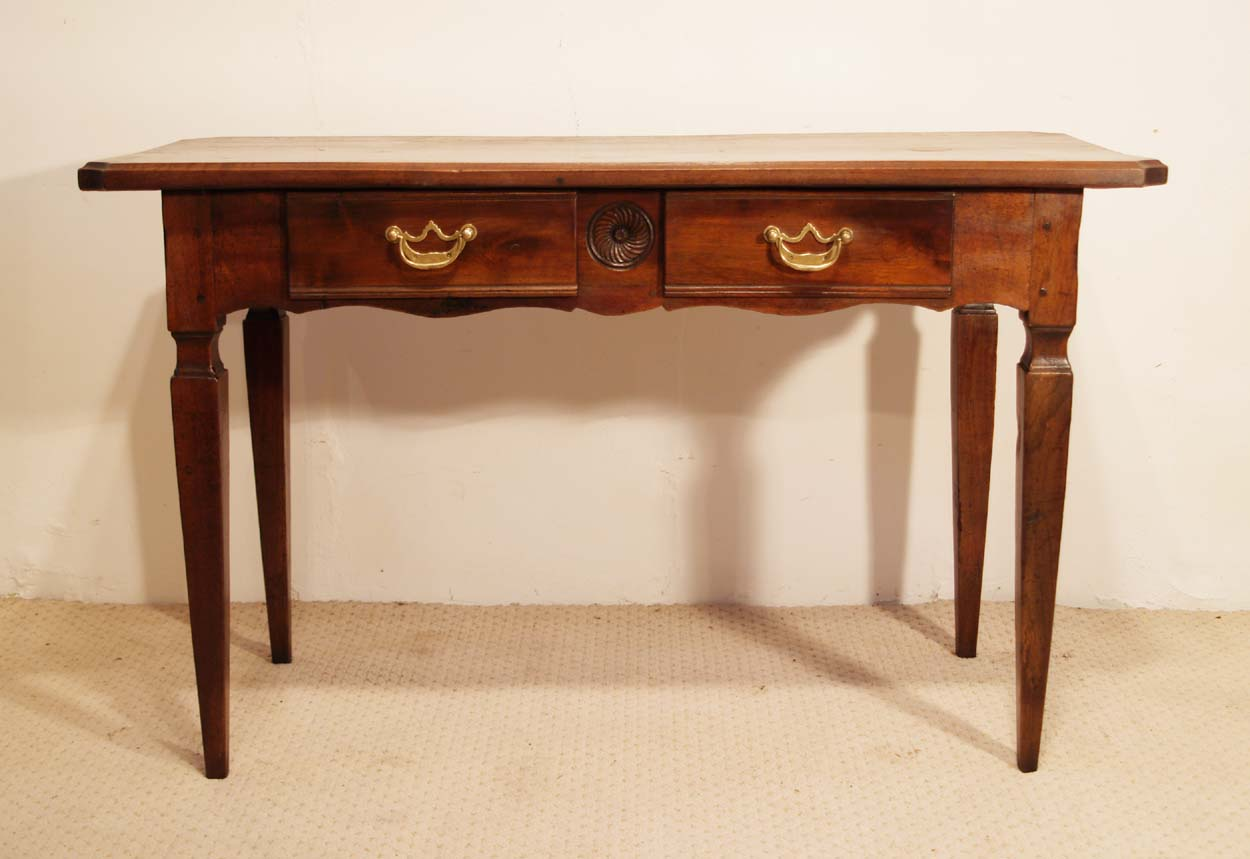 French antique walnut 2 drawer server desk front elevation