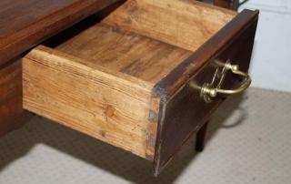 French Antique Walnut 2 Drawer Server , Desk, dovetail drawer
