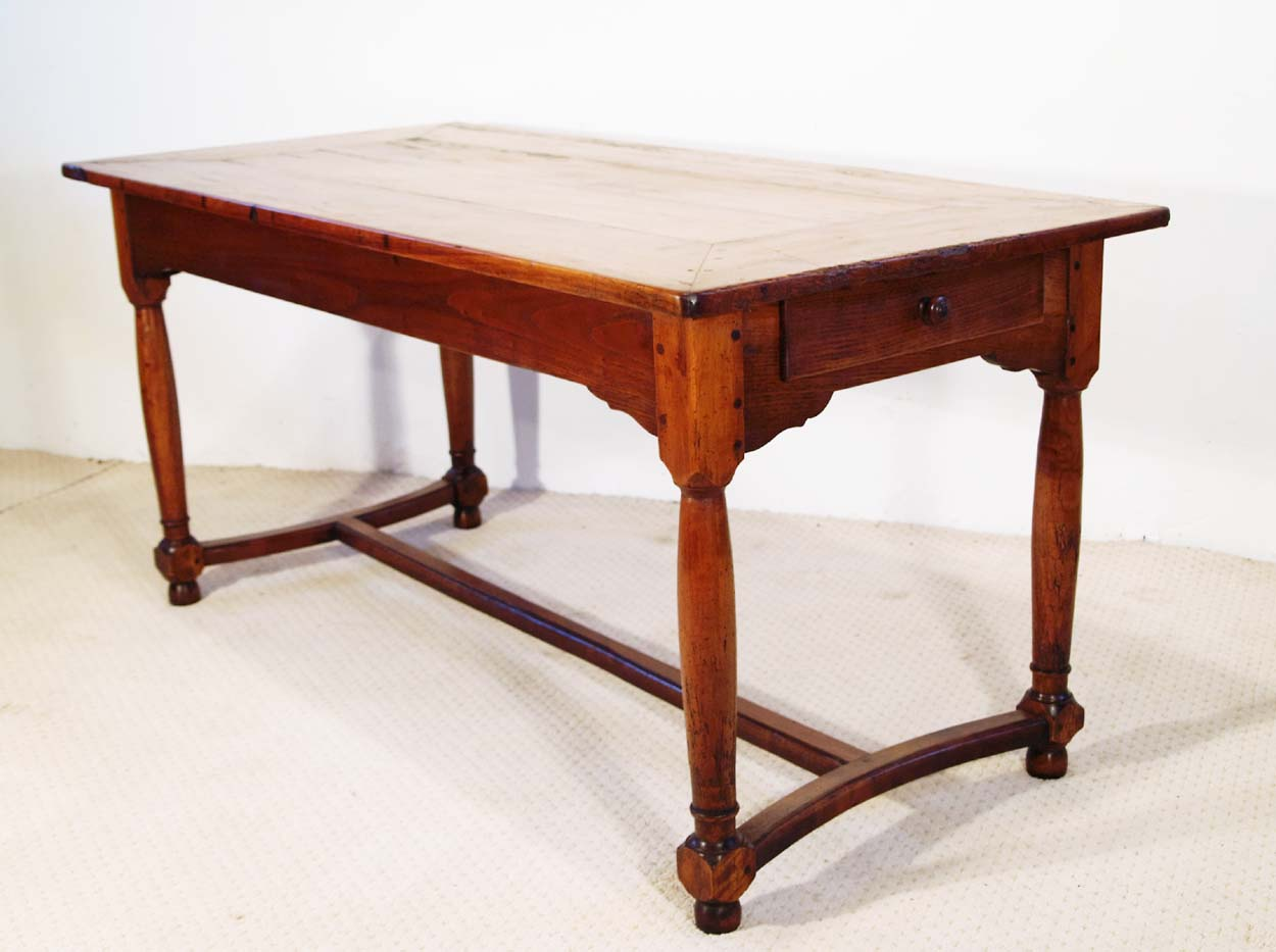 French antique cherry farmhouse table with crinolin stretchers
