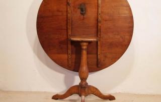 French Antique Cherry Gueridon, Pedestal Tilt Top Table, back