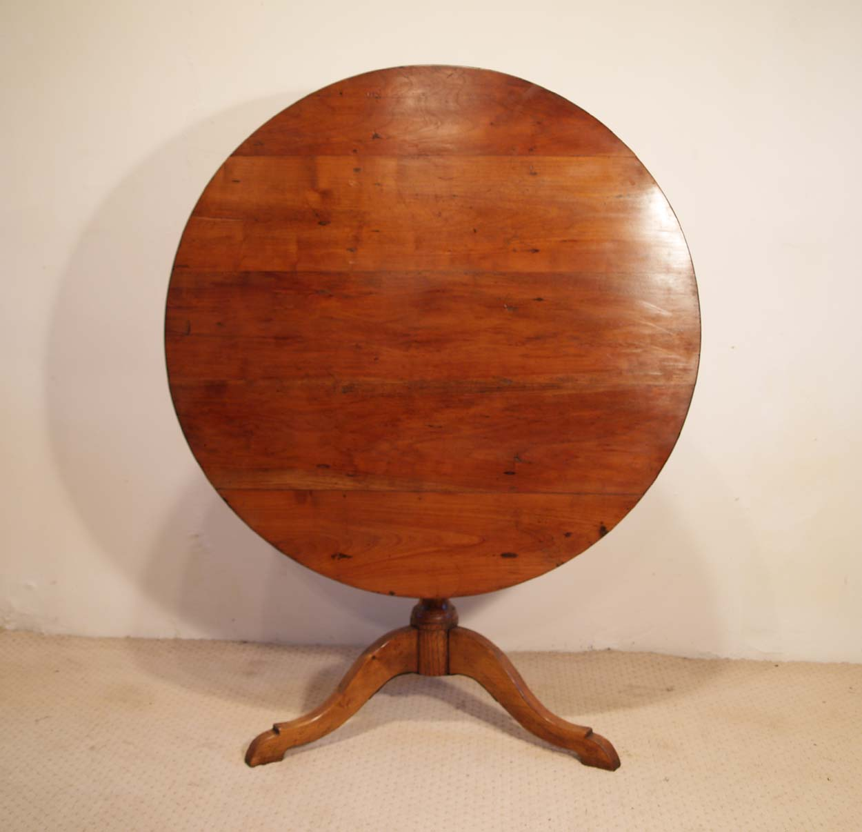 French Antique Cherry Gueridon, Pedestal Tilt Top Table, front