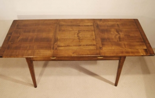 French Antique Style Centre Extending Table with Drop in Leaves, half extended
