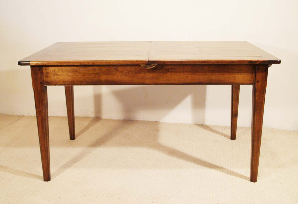 French Antique Style Centre Extending Table with Drop in Leaves, side elevation