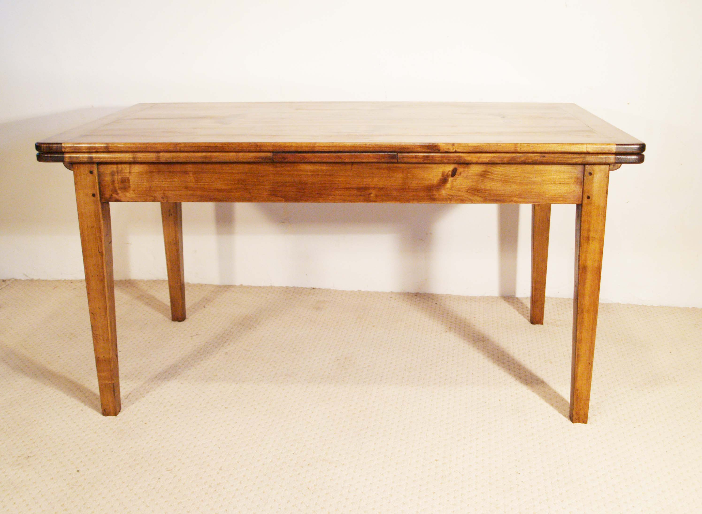 French antique style double extending table side elevation