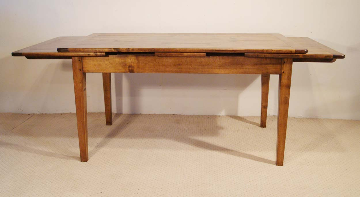French Antique Style Double Extending Table, slightly extended